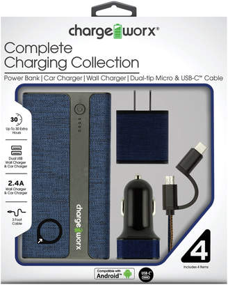 Chargeworx Blue Complete Charging Collection with Dual-Tip Micro & USB-C Cable