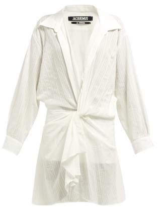 Jacquemus Alassio Knot Front Cotton Blend Dress - Womens - White