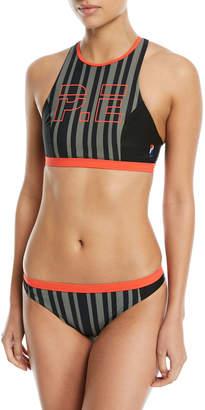 P.E Nation Back Paddle Cross-Back Striped Two-Piece Bikini