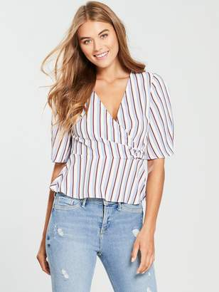 Miss Selfridge D-Ring Wrap Blouse - Pinstripe