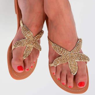 Aspiga Gold Starfish Beaded Flat Leather Sandals