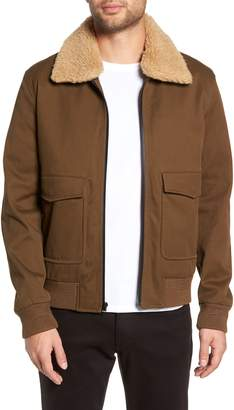 Vince Regular Fit Bomber Jacket with Faux Shearling Collar