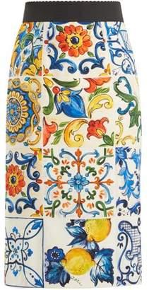 Dolce & Gabbana Majolica Print Silk Blend Pencil Skirt - Womens - White Print