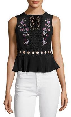 Nanette Lepore Posey Sleeveless Silk Crepe de Chine Top, Black $328 thestylecure.com