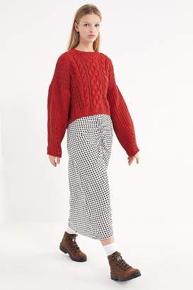 Urban Outfitters Marina Gingham Ruched Maxi Skirt