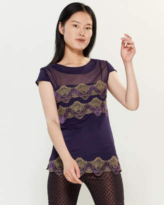 Save the Queen Purple & Gold Sheer Lace Trim Top