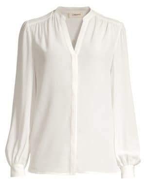 L'Agence Women's Raquel Button Back Blouse - Black - Size Medium