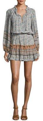 MISA Los Angeles Lorena Long-Sleeve Mini Dress, Multipattern $238 thestylecure.com