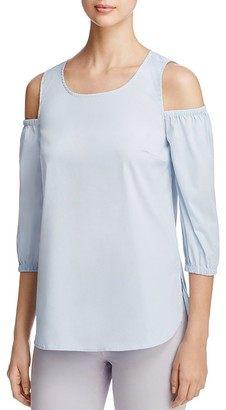 Design History Cold Shoulder Poplin Top $88 thestylecure.com