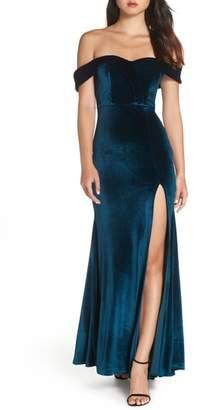 Sequin Hearts Off the Shoulder Velvet Gown