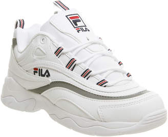 Fila Ray Trainers White Navy Metallic Silver