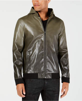 INC International Concepts I.n.c. Men's Faux Leather Hooded Jacket
