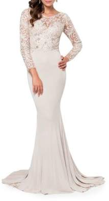 Terani Couture Glamour by Beaded Lace Gown