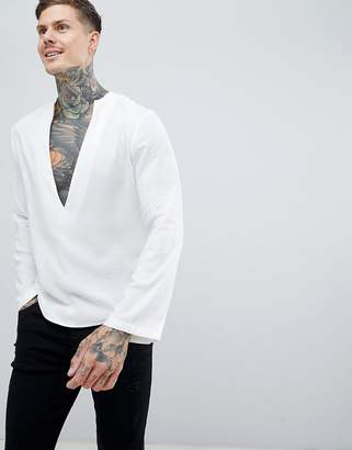 Asos Design DESIGN regular fit longline viscose shirt with low v neck