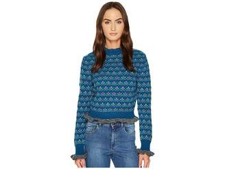 RED Valentino Carded Wool Flower Jacquard Top Women's Clothing