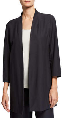 Eileen Fisher Open-Front 3/4-Sleeve Lightweight Stretch Crepe Jacket