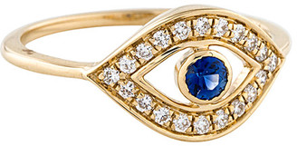 Downtown Diamonds Adornia 14K 0.27 Ct. Tw. Diamond & Sapphire Evil Eye Ring