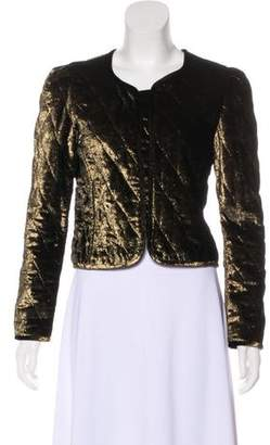 Nili Lotan Velvet Quilted Cropped Jacket