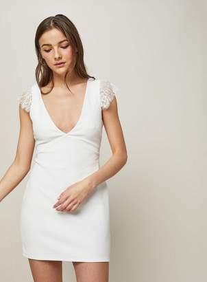 ed6c44bd8e21 at Miss Selfridge · Miss Selfridge Ribbed lace v-front bodycon dress