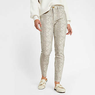 River Island Petite white Molly snake print jeggings