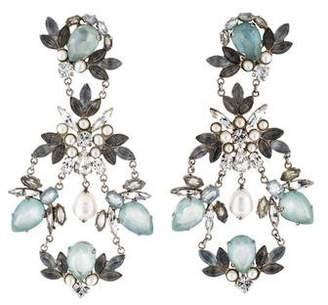 Chanel Faux Pearl & Crystal Chandelier Clip-On Earrings w/ Tags