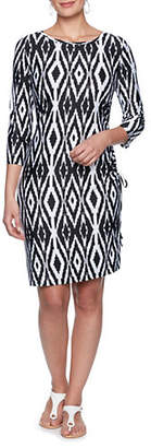 RUBY RD Static Diamond-Print Shift Dress