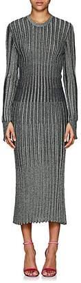 Cédric Charlier Women's Metallic Rib-Knit Midi-Dress - Green