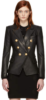 Balmain Black Leather Six-Button Blazer
