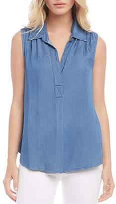 Karen Kane Shirred Sleeveless Chambray Shirt