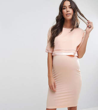Asos Nursing NURSING Double Layer Dress with Satin Trim