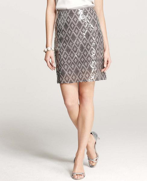 Ann Taylor Sequin Mirrored Skirt