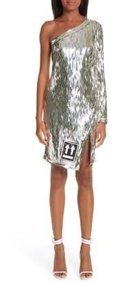Off-White Sequin One Shoulder Dress