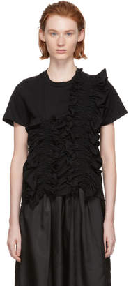 Chika Kisada Black Shirred Panel T-Shirt