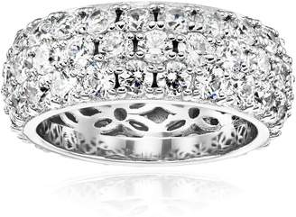 Swarovski Amazon Collection Platinum Plated Sterling Silver 3 Row Pave Ring set with Round Zirconia (3.45 cttw), Size 9
