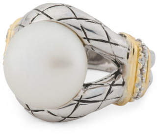 14k Gold And Sterling Silver Pearl Braided Split Shank Ring
