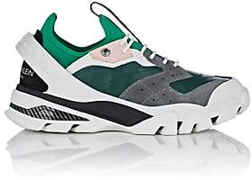 Calvin Klein Men's Rubber-Strap Leather & Suede Sneakers-Green, Grey