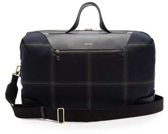Paul Smith Windowpane Check Leather Trimmed Holdall - Mens - Blue