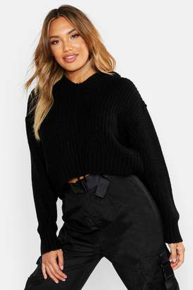 boohoo Oversized Soft Knit Hooded Crop Jumper