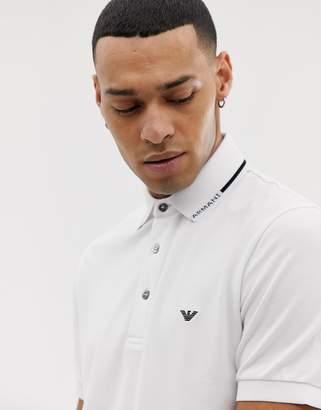 Emporio Armani slim fit tipped logo polo in white