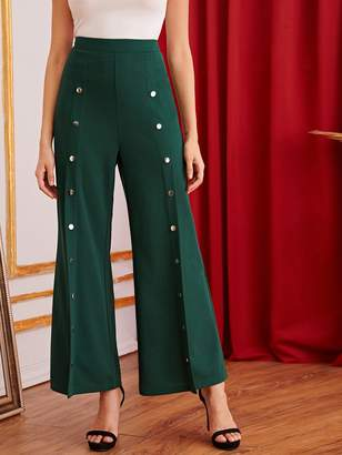 Shein Zipper Fly Buttoned Seam Front Flare Leg Pants