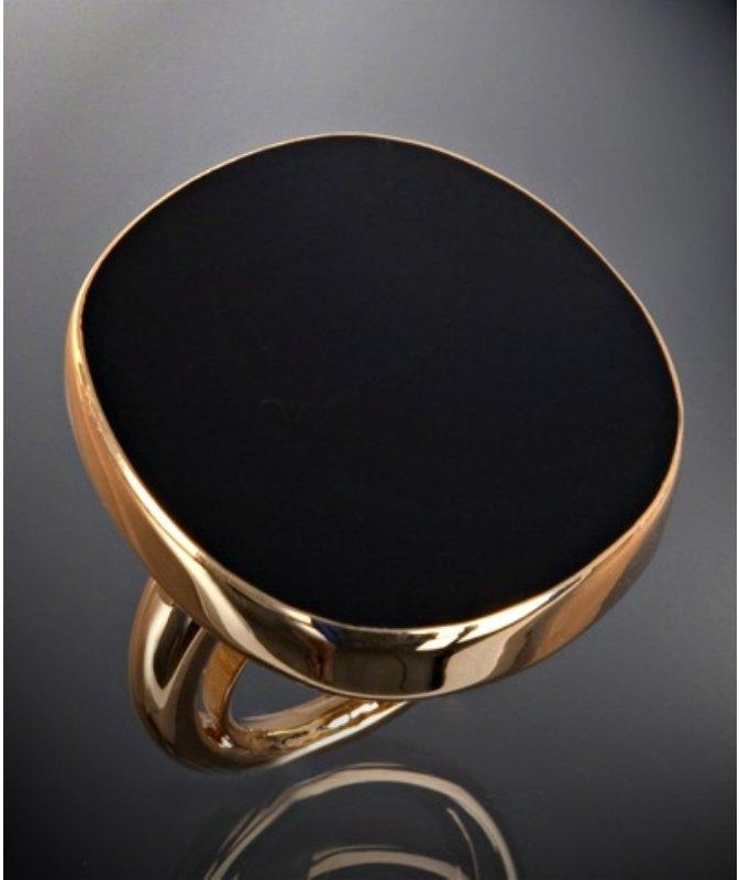Kenneth Jay Lane black enamel stone large ring