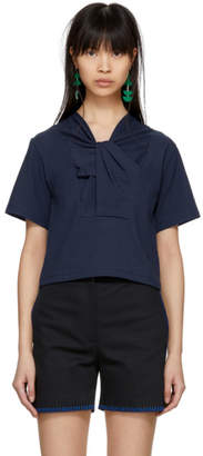 Carven Blue Twist Neckline T-Shirt