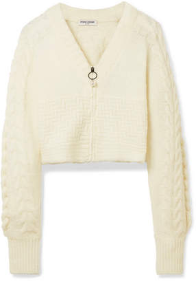 Opening Ceremony Cropped Cable-knit Wool-blend Cardigan - Cream