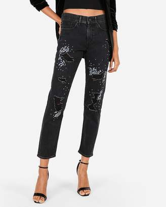 Express High Waisted Embellished Original Vintage Skinny Jeans
