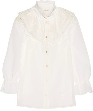 Marc Jacobs - Ruffled Lace-trimmed Cotton-voile Blouse - Ivory $295 thestylecure.com