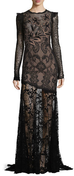 Andrew Gn Andrew Gn Long-Sleeve Asymmetric Floral Lace Gown, Black