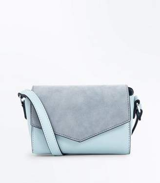 New Look Mint Green Suedette Panel Envelope Cross Body Bag