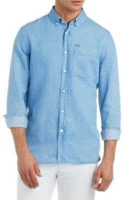 Lacoste Textured Cotton Button-Down Shirt