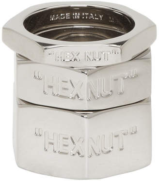 Off-White Off White Silver Bolt Ring Set