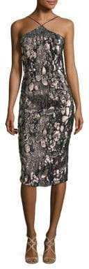 Theia Metallic Jacquard Halter Dress